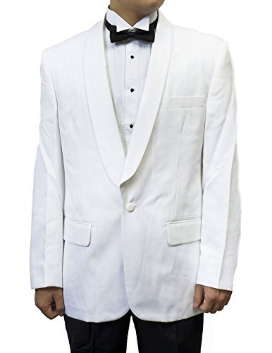 Dinner Shawl Collar Jacket (Mens White Shawl Collar Tuxedo Suit Black Pants By Broadway Tuxmakers (42L))