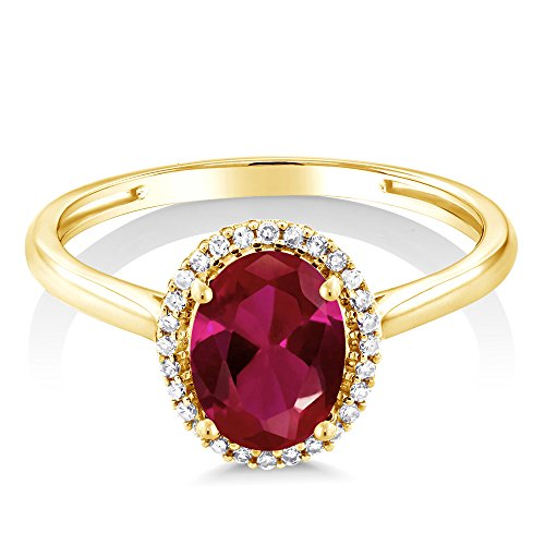 Gem Stone King 1.15 Ct Oval Red Created Ruby 10K Yellow Gold Diamond Ring Available 5,6,7,8,9