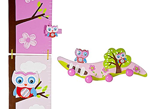 Mousehouse Gifts Kids Coat Hooks and Matching Height Chart for Owl Themed Girls Bedroom or Baby Nursery