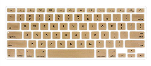 "YYubao Super Stretchy Silicone Keyboard Cover Skin Protector for MacBook Pro 13"" 15"" 17"" (with or without Retina Display) MacBook Air 13"" and iMac (Fits US Keyboard Layout only) - Golden"