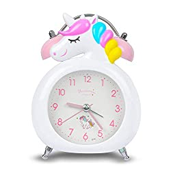 KOROTUS COLLECTION Unicorn Alarm Clock for Girls, for Kids and Teen Loud Bell and Button Night Light for Heavy Sleepers (White)