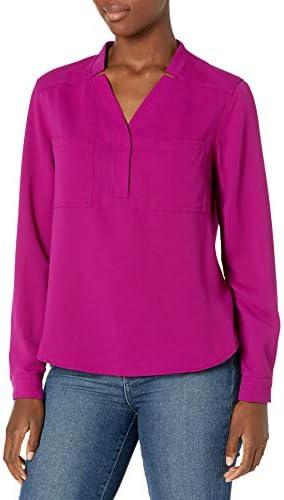 NINE WEST Women`s Long Sleeve BlousePatch Pockets