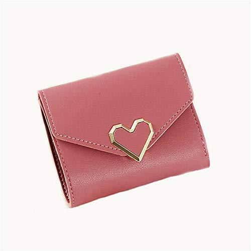 Fashion Women Small Purse Card Fresh Short Wallet for Girl Casual Leather Bag QP (Color - Dark Pink)