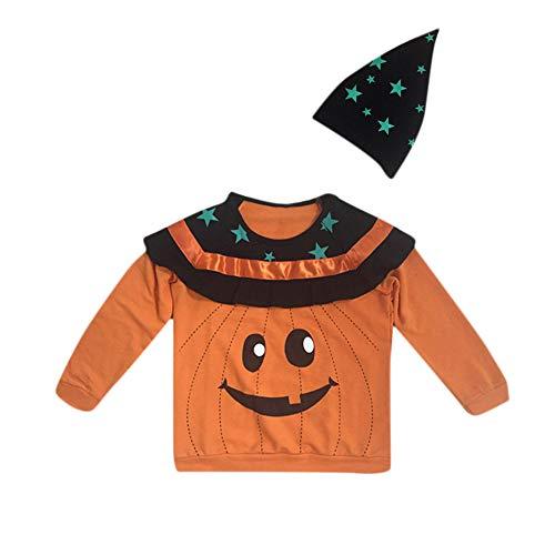 Neonato Felpa Halloween 6 per Anni Manica Arancia carnevale Bambina Top 2 Halloween stella cappello Pullover BYSTE lunga costume bambina Costume Camicie zdqwgUvz