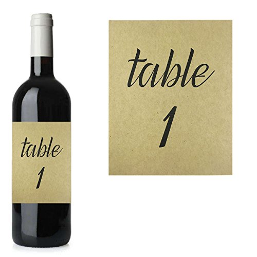 Table 1-25, Kraft Table Number Wine Label Set, Wedding Table Decor, Reception Table Numbers Wine Bottle Stickers -