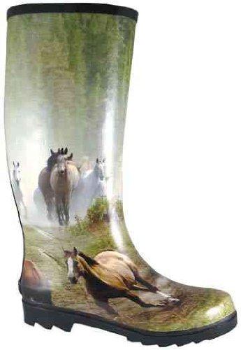Rokerige Bergvrouwen Die Paardenrennen Lopen Lange Rubberen Regenlaars - 6709-x Multi