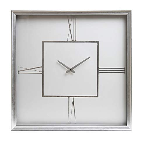 "24"" White and Silver Roman Numeral Square Wall Clock"