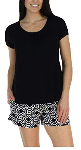 bSoft Women's Sleepwear Bamboo Jersey Black Mosiac Short Sleeve Top and Shorts Pajama Set - Black Top (BSBJ1831-1057S-LRG)