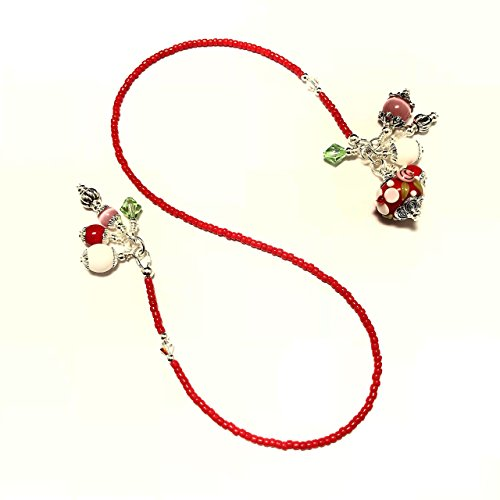 Beaded Lampwork Swarovski Bookmark - Handmade Beaded Bookmark~Red & White Daisy w/Green Lampwork~Swarovski Crystal~Book Thong~