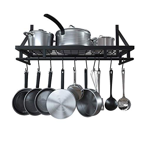 - KES 24 Inch Kitchen Wall Mount Pot Pan Rack Wall Shelf With 10 Hooks Matte Black, KUR215S60-BK