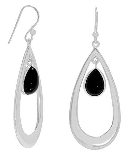 Sterling Silver French Wire Earrings, 13x8 Teardrop Black Onyx Drop, 1-1/2 inch long
