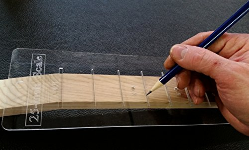 25-inch Fretting Scale Marking Template for Guitars - Laser-cut-Acrylic - Popular Scale used on National(TM) and Paul Reed Smith(TM) Guitars