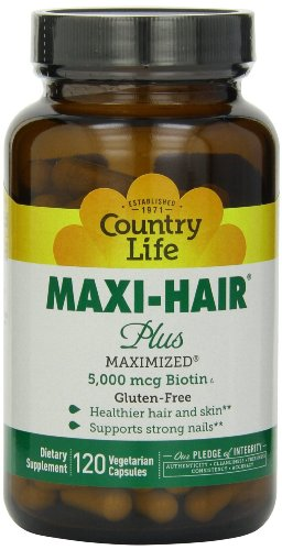(Country Life - Maxi-Hair Plus with 5000 mcg of Biotin - 120 Vegetarian Capsules)