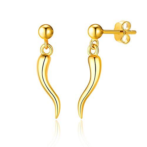 (Simple Italian Horn Stud Earrings Hypoallergenic 18K Gold Plated Sterling Silver Dainty Earrings Lucky Jewelry for Women Girls)