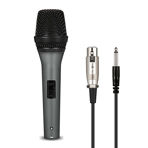 NASUM Vocal Dynamic Microphone Cardioid Handheld Microphone with On/Off Switch and XLR Cable Male-Female Wire Cord Mic Audio Connection for Stage Karaoke Singing Recording Speech Wedding Indoor by NASUM
