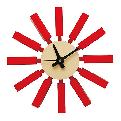 Retro Mod Metal Wall Clock (Mod Made Modern Spoke Wall Clock, Red)