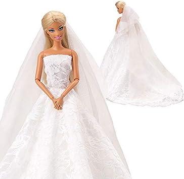 Miunana Robe de Mariage Blanche Élégante