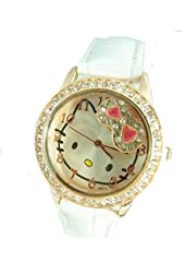 Crystal Watch for Girls Hello Kitty Style Watches Hello Kitty White Band Watch. HK:PCW2