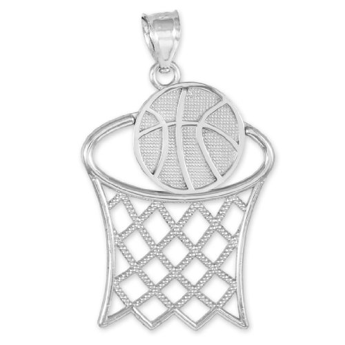 925 Sterling Silver Basketball Hoop Sports Charm Pendant Sterling Silver Basketball Charm