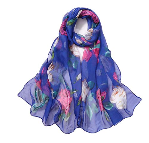 Print Silk Feeling Scarf Fashion Scarves Lightweight Shawl Scarf Sunscreen Shawls for Womens (Rose&Blue)