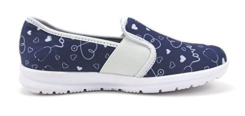 Sunny Women's Cute Memory Foam Elastic Gore Nursing Shoes - Printed - Florence (10, Stetho Love Blue) by Keep Nursing (Image #5)