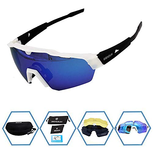 9cdf247e6a6 GIEADUN Sports Sunglasses Protection Cycling Glasses with 4 Interchangeable  Lenses Polarized UV400 for Cycling