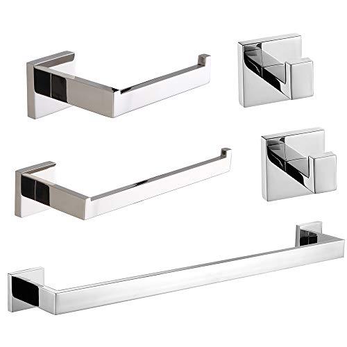 VELIMAX Stainless Steel 5-Piece Bathroom Hardware Set Towel Bar Kit Wall Mounted Bathroom Accessories Set, Polished Finish (Accessories Steel Stainless Bath)