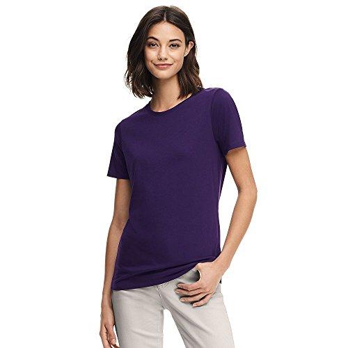 Lands' End 4766803 Women's Relaxed Supima Crewneck T-Shirt, L, Blackberry (Lands End Crew Shirt)