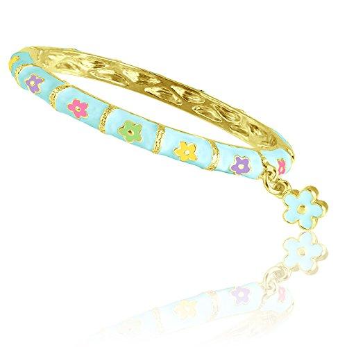 Fashion Jewelry for Girls! Gorgeous Enamel Bangle Bracelet 18kt Gold Plated Flower Charm Bracelets