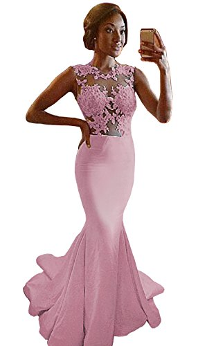 Ruiyuhong Women's Mermaid Appliques Lace Long Wedding Dress (12,Pink)
