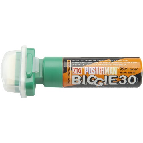 Zig 30mm Wide Posterman Biggie Tip Wet Wipe Marker, Green ()