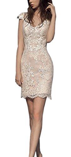Ikerenwedding - Vestido - ajustado - para mujer champán