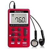 Retekess V112 Pocket AM FM Radio Digital Tuning Mini Small with Earphone Rechargeable