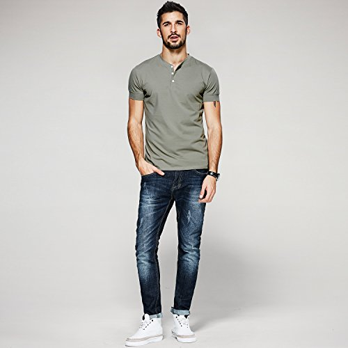 Men Casual T Shirt V Neck Short Sleeve Cotton Button Stylish Loose Slim Fit Sport Workout Outdoor Wear Gym Beach Party Hiking Travel Business Working Weekend Henley Shirts High Elasticity(MArmyGreen) by VAVE (Image #2)