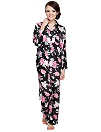 S-Forest Women's Satin Lounge Long Sleeve Pajamas Sets