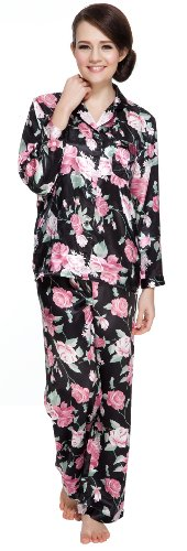 Floral Print Set - Sunrise Women's Long Sleeve Premium Satin Pajama Set (XX-Large, Black Floral Print)
