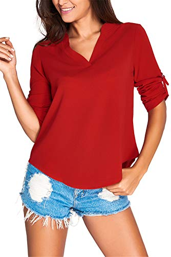 Dokotoo Womens Casual Chiffon Ladies V-Neck Cuffed Sleeve Blouse Tops X-Large Wine,Wine,(US16-18)XL