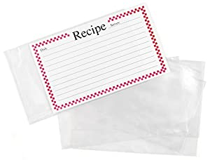 amazon com clear vinyl 3 x 5 inch recipe card covers set of 48
