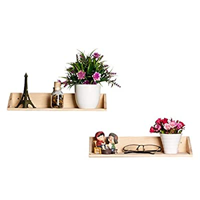 [Set of 2] Floating Shelves Wall Mounted 2 Display Ledge Shelf with Bracket for Pictures + Audio + DVD + Frames Modern Home Decorative Collectibles, and Much More - ✔️HIGH-QUALITY MATERIAL: the Floating shelves Made of high-grade melamine faced panels, with the wear resistance and durable, excellent stain resistance, good breath-ability, anti-stripping, Eco-friendly spray painted finish which makes it easy to clean ✔️HOME DECORATIVE: Great for home, office & dorm, Decorative and functional. This Floating shelf can be used to hang photos or plants in the living room, hold beauty products in the bathroom. ✔️SPACE-SAVING: This wall mounted floating shelf is suitable for holding books, phones, wallet, keys, and any other small items, which is perfect for saving your room space - wall-shelves, living-room-furniture, living-room - 41vImniqpkL. SS400  -