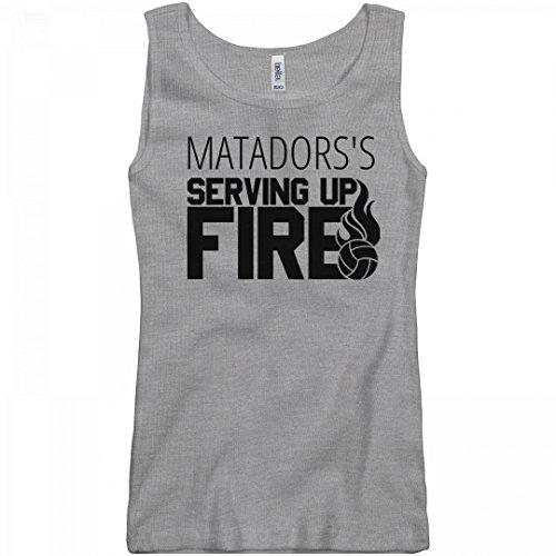 FUNNYSHIRTS.ORG Matadors's Volleyball Serving Up Fire: Junior Fit Basic Bella 2 x 1 Rib Tank Top