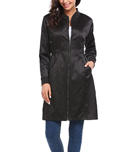 Zeagoo Women's Lightweight Windproof Long Satin Jacket Zipper Outwear Trench Coat Black Small (Satin Jacket Trench)