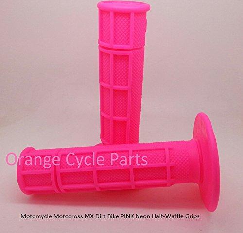 - Orange Cycle Parts PINK Neon Half-Waffle Grips Handlebar Grip Motorcycle Motocross MX Dirt Bike Single Density