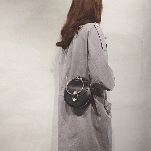 Bag Woman color Buckle Single Female Mini Handbag Bag Portable Hanging Gray Bag Black Locking Shoulder Round PvqOw