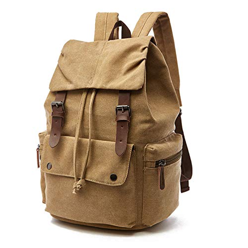 (azhuang Korean Solid Canvas Laptop Backpack for Men Women A++ Grade Solid Waterproof Best Laptop Backpacks Backpage Rucksack,Khaki)