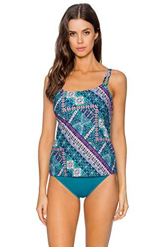 (Sunsets Women's Iconic Shirred Tankini Top Swimuit, Grand Bazaar, 40F/38G/36H)