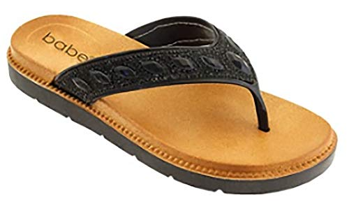 Babe Women's Bling Jeweled Slip-on Flip Flop Thong Sandals (8, Black)