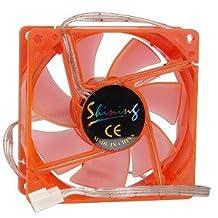 "3"" x 3"" (80mm) 3-Blue LED UV Reactive Sleeve Bearing Case Fan w/3-Pin Connector (Orange)"