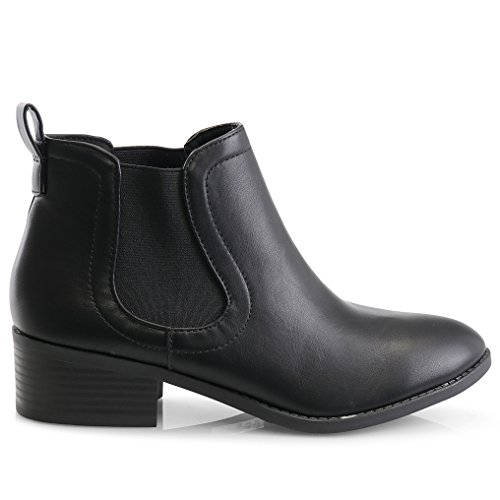 LUSTHAVE Stacked Heel Chelsea Charlie Women's C Bootie Boots Casual Low Chunky Ankle Elastic Black qwSw4Xx