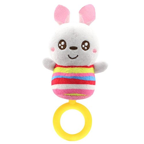 Gbell Soft Rattles Teether for Newborn Infant,Plush Animal Hanging Bell Baby Toys (C)