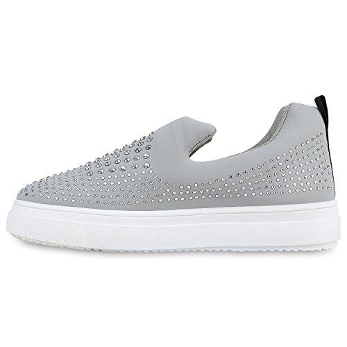 Stiefelparadies Damen Sneaker Slip Ons mit Plateau Glitzer Flandell  38 EUSchwarz Weiss Glitzer